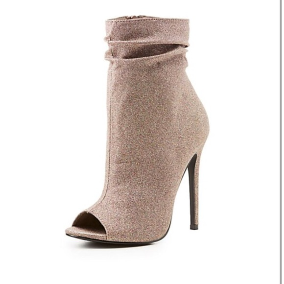 ae3c100e6687 Charlotte Russe Shoes - Shimmer Ruched Peep Toe Booties